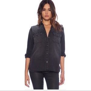 Current/Elliot The Perfect Studded Shirt, Size M/L
